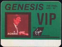 ##MUSICBP0152 - Genesis OTTO Backstage Pass from 1987 The Final Leg Tour Featuring Ronald Reagan - As low as $3 each