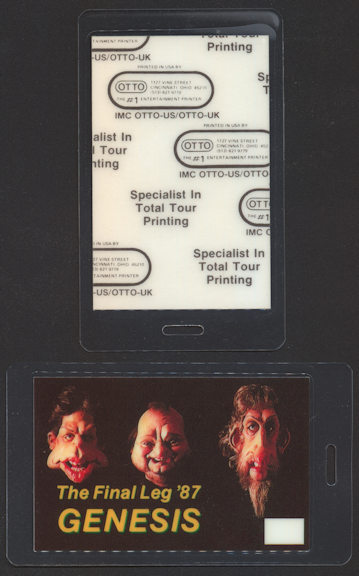 ##MUSICBP0083  - 1987 Genesis (Phil Collins) OTTO Laminated Backstage Pass from the Final Leg of the Invisible Touch Tour