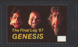 ##MUSICBP0083  - 1987 Genesis (Phil Collins) Laminated Backstage Pass from the Final Leg of the Invisible Touch Tour - As low as $3.50 each