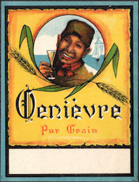 #ZLW181 - Group of 4 Genievre Pure Grain Dutch Alcohol Labels