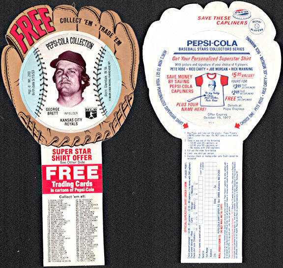 #BA135 - 1977 Pepsi Glove Disc Carton Insert Featuring Hall of Famer George Brett