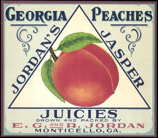 #ZLC245 - Very Old Jordan's Jasper Juicies Georgia Peach Crate Label
