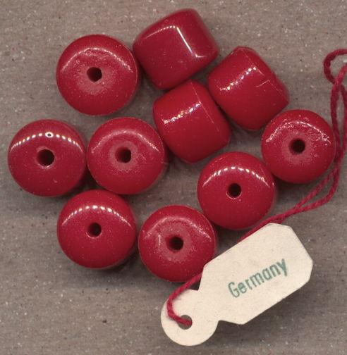 #BEADS0755 - Group of 10 Dark Orange Pre War Germany Glass Beads