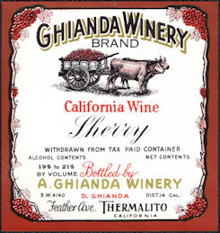 #ZLW169 - Ghianda California Wine Sherry Bottle Label - Oxen