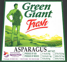 #ZLC477 - Green Giant Brand Asparagus Crate Label - Firebaugh, CA