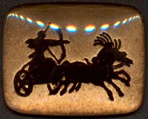 #BEADS0852 - Large 28mm Black and Gold Intaglio Featuring an Archer Shooting from a Moving Chariot