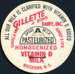 #DC199- Gillette & Sons Dairy Milk Bottle Cap