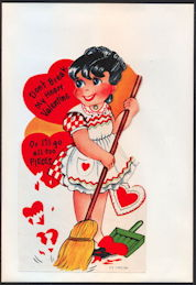 #HH189 - Large Diecut Mechanical Valentine with Girl Sweeping and with Original Envelope