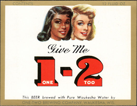#ZLBE120 - Give Me 1 - 2 (One Too) Beer Bottle Label