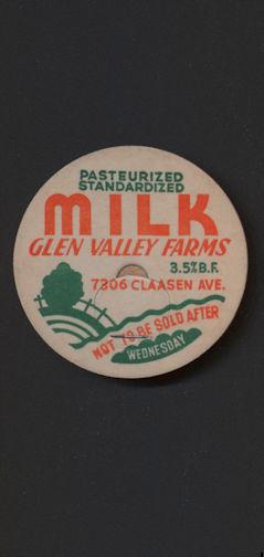 #DC155 - Very Rare Glen Valley Farms Milk Bottle Cap