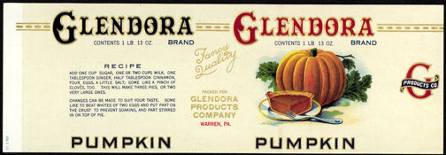 #ZLCA180 - Large Glendora Pumpkin Can Label