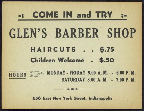 #ZZZ084 - Ad Sheet for Glen's Barber Shop