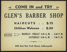 #ZZZ084 - Ad Sheet for Glen's Barber Shop