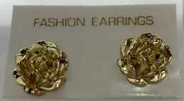 #BEADS0889 - Group of a Dozen Pairs of Golden Rose Earrings on Display Card