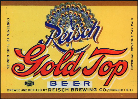 #ZLBE115 - Reisch Gold Top Beer Label - Peacock IRTP