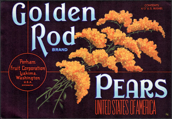 #ZLC462 - Golden Rod Pears Crate Label