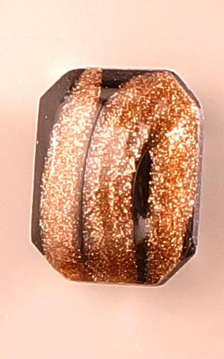 #BEADS0449 - 10mm Goldstone Striped Glass Cabochon - Beautiful! - As low as 15¢ each