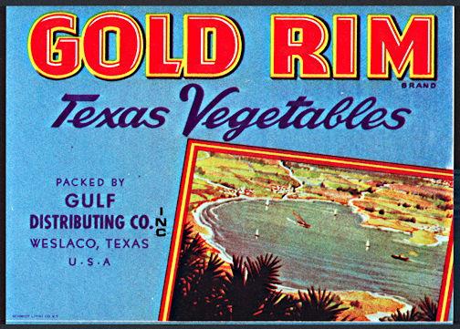 #ZLCA*042 -Gold Rim Texas Vegetables Crate Label