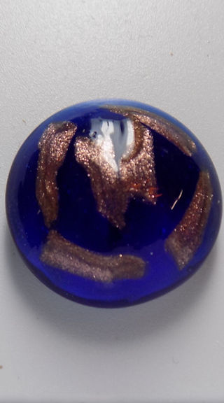 #BEADS0607 - Large 22mm Deep Cobalt Glass Cabochon with Goldstone Streaks