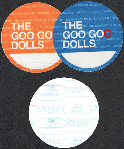 """##MUSICBP0619 - 2 Different Colored Goo Goo Dolls OTTO Cloth Backstage Passes from the 2006 """"Let Love In"""" Tour"""