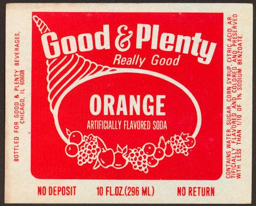 #ZLS180 - Good & Plenty Orange Soda Bottle Label - Chicago