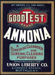 #ZBOT197 - Large GoodTest Brand Ammonia Bottle Label