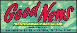 #ZLCA*011 - Good News Florida Citrus Crate Label