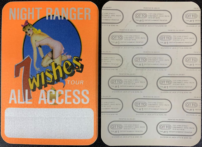 "##MUSICBP0746 - 1985 Cloth Backstage All Access Pass from the NIght Ranger ""7 Wishes"" Tour - Pinup"