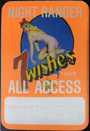 """##MUSICBP0746 - 1985 Cloth Backstage All Access Pass from the NIght Ranger """"7 Wishes"""" Tour - Pinup"""