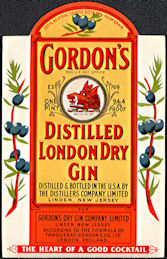 #ZLW170 - Gordon's Gin Bottle Label - Boar's Head