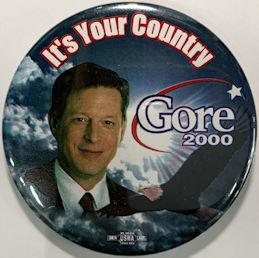 #PL382 - Licensed Large Al Gore 2000 Pinback