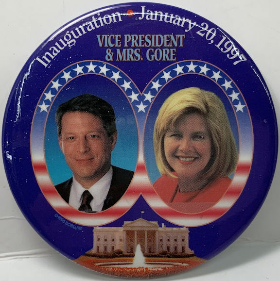 #PL378 - Large Pinback Picturing Al and Tipper Gore at the 1997 Inauguration