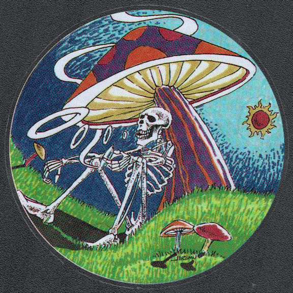 ##MUSICBP2041 - Grateful Dead Car Window Tour Sticker/Decal - Skeleton with a Joint Blowing Smoke Rings Under a Giant Mushroom