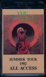 ##MUSICBP0467 - Laminated 1982 Grateful Dead Summer Tour Backstage Pass