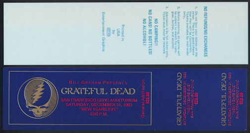 ##MUSICBPT0029 - Grateful Dead OTTO Ticket from the 1983 San Francisco Auditorium Concert