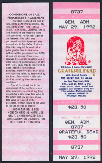 ##MUSICBPT0033 - Grateful Dead/Steve Miller Ticket for the UNLV Silver Bowl Concert on May 29, 1992 - As low as $4 each