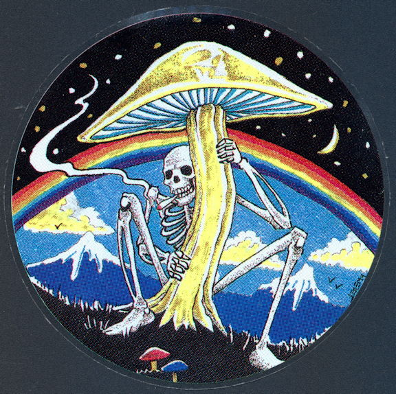 ##MUSICBP2001 - Grateful Dead Car Window Tour Sticker/Decal - Skeleton Smoking a Joint under a Mushroom with Rainbow