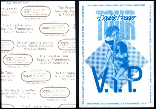 ##MUSICBP0157 - Rare OTTO Cloth Backstage Pass for the Tesla/Great White 1989 Double Header Tour - As low as $3.50 each