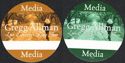 ##MUSICBP0095  - Pair of Two Different Colored Gregg Allman OTTO Media Backstage Pass from the Low Country Blues Tour