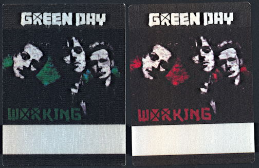 ##MUSICBP0335 - Two Different Green Day OTTO Cloth Backstage Passes from the concert at Akasaka, Japan on May 28th, 2009