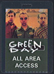 ##MUSICBP0292 - Green Day All Access Laminated OTTO Backstage Pass from 1990 World Tour