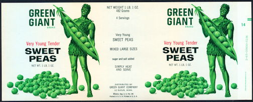 #ZLCA252 - Green Giant Can Label Picturing the Jolly Green Giant