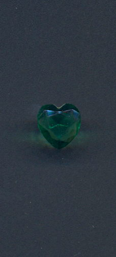 #BEADS0744 - 12mm Heart Shaped Emerald Glass Cabochon - As Low as 10¢ each