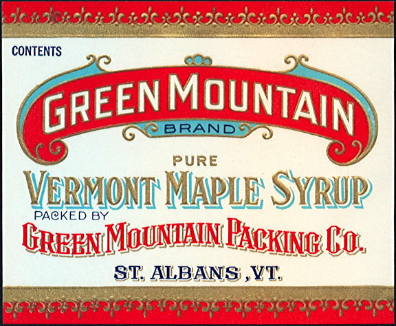 #ZBOT107 - Heavily Embossed and Gilded Green Mountain Syrup Label