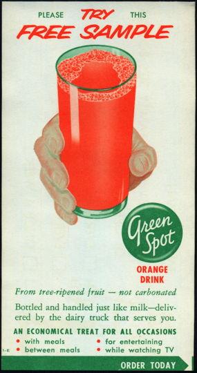 #DA090  - Green Spot Free Sample Orange Drink Milk Bottle Carrier Insert