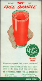 #DA090  - Green Spot Free Sample Orange Drink Milk Bottle Carrier Insert