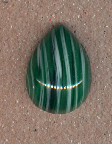 #BEADS0775 - Teardrop shaped 18mm White and Green Striped Glass Cabochon - Cherry Brand