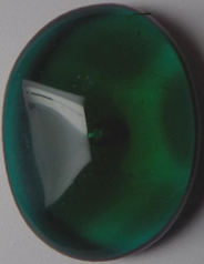 #BEADS0608 - Large 26mm Deep Emerald Green Pinch Glass Cabochon