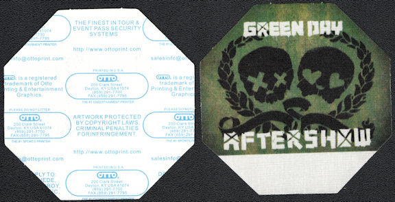 """##MUSICBP0561 - 2009 Green Day OTTO Cloth Backstage Pass from the """"21st Century Breakdown"""" Tour - Skulls"""