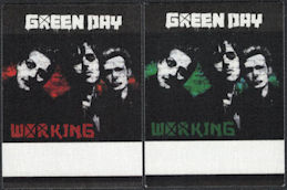 ##MUSICBP0335 - Two Different Green Day OTTO Cloth Working Backstage Passes from the concert at Akasaka, Japan on May 28th, 2009